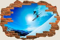 3D Hole in Wall Ski Slopes Skiing View Wall Stickers Film Mural Wallpaper 388