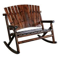 Patio Rocking Chair Outdoor 2-Person Rustic Log Rocker Porch Deck Wood Furniture