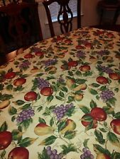 Food Network Fruit Orchard Tablecloth Apples Poly Cotton Rectangular 48x58 NEW