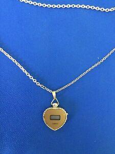 Vintage Jacques Carpentier Heart Quartz Digital Pendant Watch Necklace