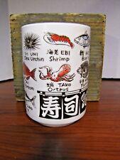 Japanese Sake Cup Sushi Fish Theme Katsuo Akagui Kani Ika Saba Uni Hirame Tuna