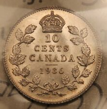 1936 Canada Silver 10 cents MS-63 ICCS.