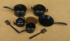 1:12 Scale Black Plastic Kitchenware Set Tumdee Dolls House Kitchen Accessory