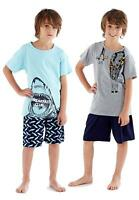 Boys Kids New Short Pyjama Set Crew Neck 100% Cotton Summer Breakfast PJs 5-12