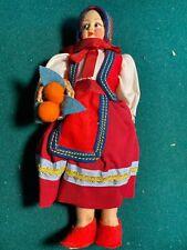 "Vintage Italian Doll Colorful Cloth & Felt 9"" Sardegna Made in Italy"