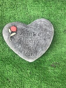 Auntie Always In Our Hearts, Memorial Stone Heart Garden Ornament Gravemarker