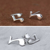 Fashion Cute Tiny Women 925 Sterling Silver Musical Note Ear Stud Earrings Gift