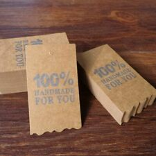 Kraft Paper Gift 100% HANDEMADE FOR YOU Printed Hang Tag DIY Card Label Packing