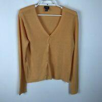 Eileen Fisher Orange Linen-Blend Button Front Cardigan Sweater Womens Size S