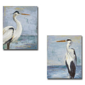Blue Heron on Blue I & II by Pinto 2-pc Gallery Wrapped Canvas Giclee Set, Large