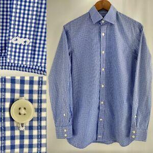 Jaeger 100% Cotton Gingham Button Down Shirt Size S Azure Blue White Check
