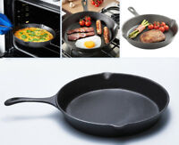 25cm Pre Seasoned Cast Iron Induction Non Stick Skillet Frying Fry Grill BBQ Pan