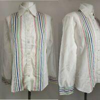 Vintage Women's Blouse Shirt White Smart Striped Rainbow Pride Blogger Collar 12