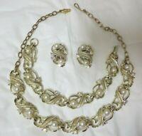 Vintage Aurora Borealis Rhinestone & Faux Pearl Necklace, Bracelet, & Earrings