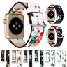 40/44/38/42mm Women Floral Leather Band Strap for Apple Watch Series 6 5 4 3 SE