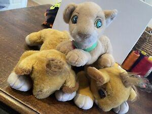 Vintage Disney Lion King Soft Plush Toys,x3 Simba, Purring Nala from Year 1993
