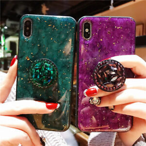 Marble Bling Diamond Stand Holder Case Cover for iPhone 12 11 Pro Max XS XR 7 8+