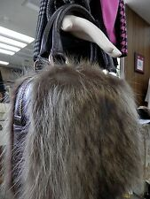 Belle Fare Leather Crocodile Design with Natural Raccoon Fur Purse - SALE