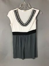 Janette Beaded Embellished White Gray Black Tunic Small