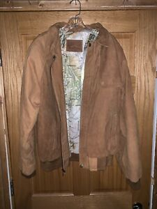 Vintage Marlboro Adventure Team Map Lined Brown Suede Leather Jacket Size large