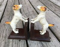 Fox Terrier Dog (Orange Ear/Tail) Cast Iron Pair of Vintage-Style Heavy Bookends