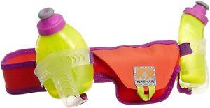 Nathan Speed 2 Hydration Waist Pack Belt, 2 x 10oz. Orange, w/ Purple,  M or L