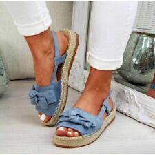 Women's Bows Slingbacks Flatform Sandals Peep Toe Buckle Casual Shoes Summer