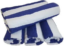 4 WHITE BLUE COTTON 30X60 CABANA TOWELS POOL BEACH VACATION RESORT TROPICAL