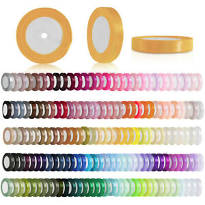 """25 Yards Satin Ribbon 1/4"""" 6mm Craft Wedding Party Favours Decorations OBRN0002"""