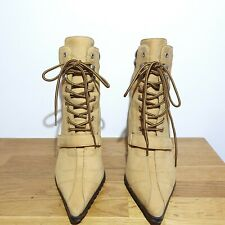NINE WEST Genuine Nubuck Suede Leather Beige High Ankle Boots Size UK 6 US 8