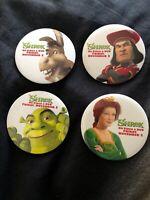 SHREK Dreamworks Movie Memorabilia 2001 Video Release LOT 4 Promo Button Pin Set