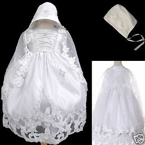 NEW Baby Girl & Toddler Christening Baptism Formal Dress White new born to 30M