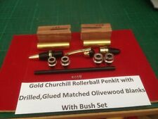 Churchill Rollerball Pen Kit in Gold with, Drilled Olive Wood Blanks and Bushes