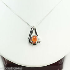 NECKLACE 2.68 CT. CABOCHON PEACH MOONSTONE PENDANT 14K WHITE GOLD 18 INCHES