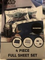 "Star Wars The Mandalorian ""The Child"" Baby Yoda 4 Piece Full Sheet Set NEW"