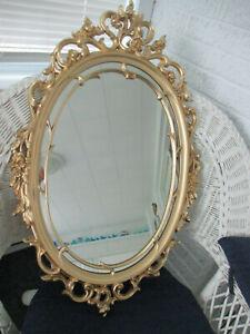 "Original 1967 Syroco #3911 Oval Mirror Hollywood Regency Gold Ornate Frame 29"""