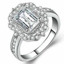 Cubic Zirconia Wedding Engagement Jewelry Women Finger Rings Fashion Emerald Cut