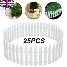 More details for 25pcs picket fence garden fencing lawn edging yard christmas tree fence white