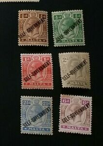 MALTA 1922 0.25d to 6d SG 114 - 119 Sc 86 - 91 MLH/MH with thin
