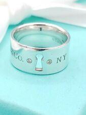 Tiffany & Co Silver Diamond Wide Keyhole Band Ring UK Size L 1/2, US 6, EU 52