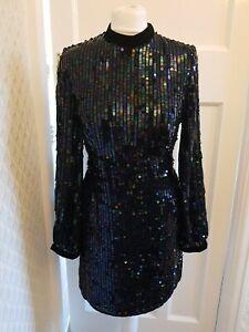 River Island Black Velvet Amd Sequin Evening Dress Size 10 New Backless