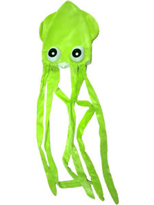 Novelty Green Squid With Long Tentacles Party Hat Cap Costume Accessory