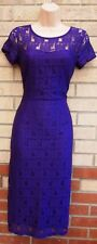 DOROTHY PERKINS PURPLE LACE BODYCON TUBE PENCIL PARTY WEDDING TEA DRESS 12 M