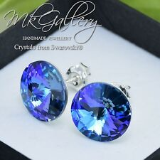 925 Silver Earrings Studs12mm Aquamarine Vitrail Light Crystals from Swarovski®