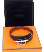 Auth Hermes H-Logo Bracelet / Choker Silver Plated Buckle Black Leather 72706