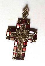 Red Garnet & Marcasite .925 Sterling Silver Cross Pendant
