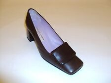 Shoes-Women-Pumps-Chuckies New York-Italy-Sz 7 M US-Solid Brown Leather-Med Heel