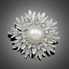 Aa036-A Hot Fashion Silver Faux pearl flower Wedding Bridal Alloy Brooch Pin