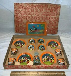 ANTIQUE DISNEY ORANGE MINNIE MICKEY MOUSE OHIO ART TIN LITHO TEA SET TOY IN BOX