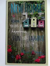 New Home House Moving Bird Boxes & Flowers Design Modern Greeting Card